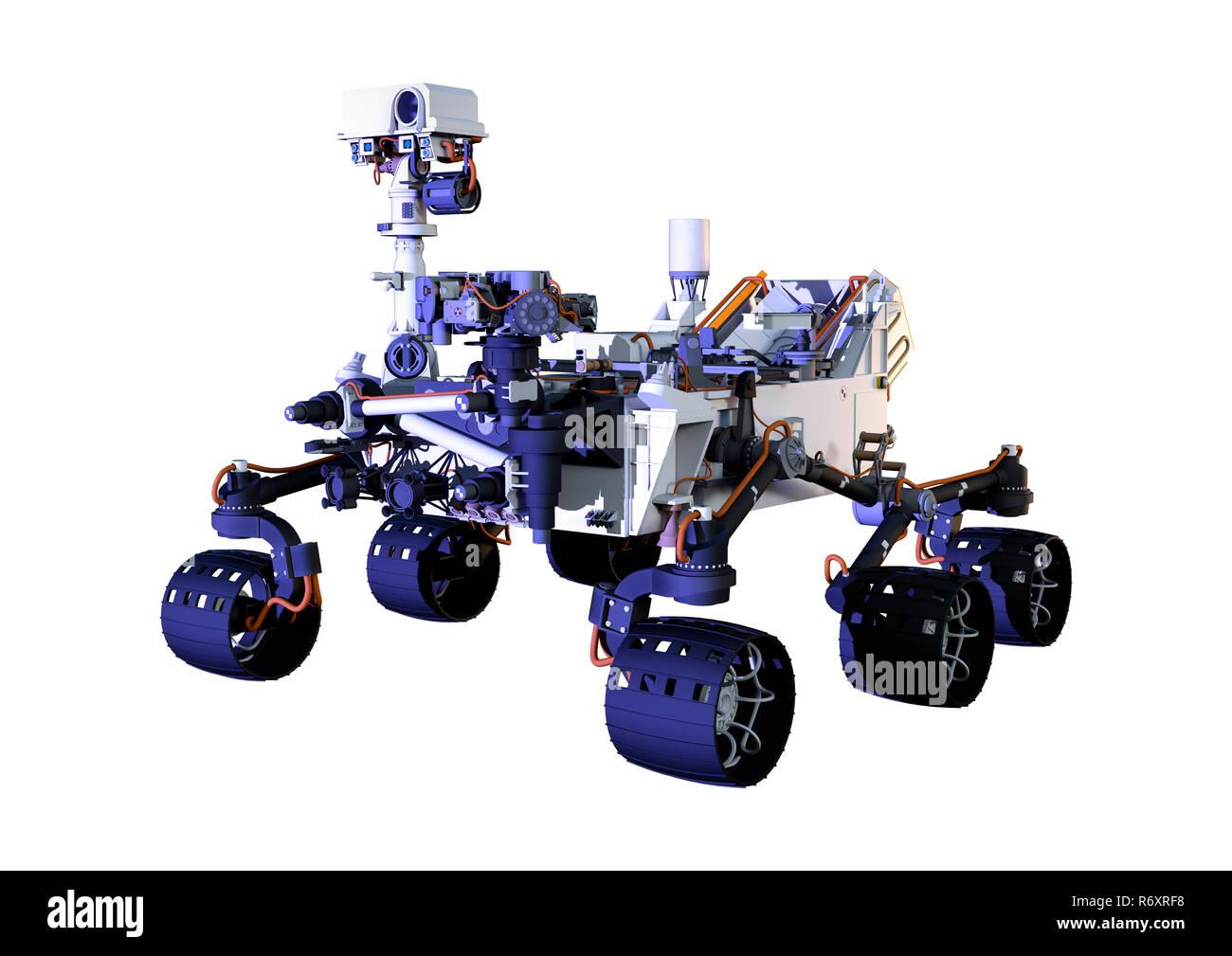 3D Rendering Mars Rover on White - Stock Image