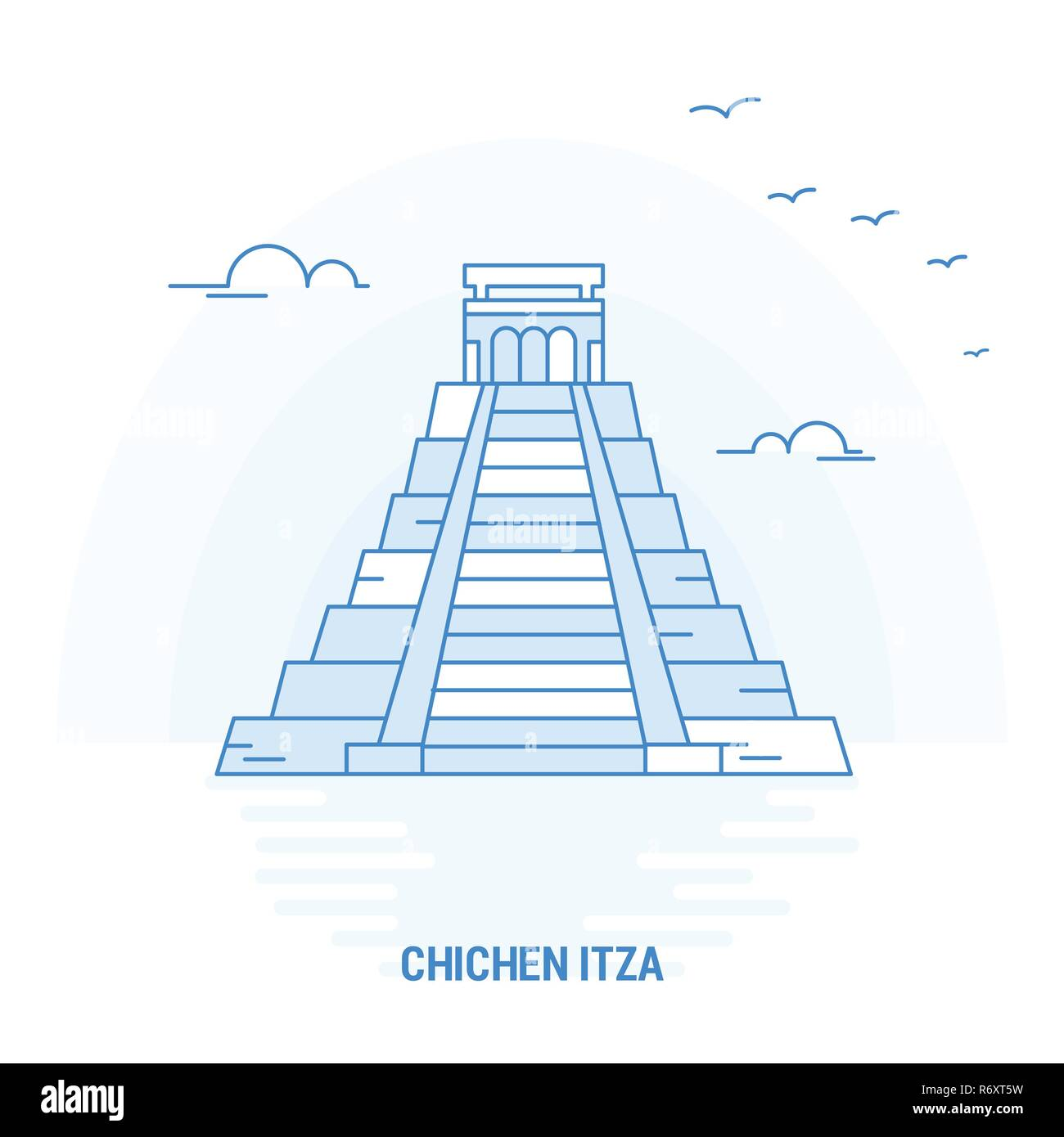 CHICHEN ITZA Blue Landmark. Creative background and Poster Template - Stock Image