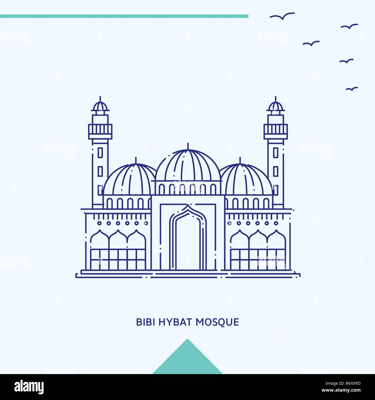 BIBI HYBAT MOSQUE skyline vector illustration - Stock Vector
