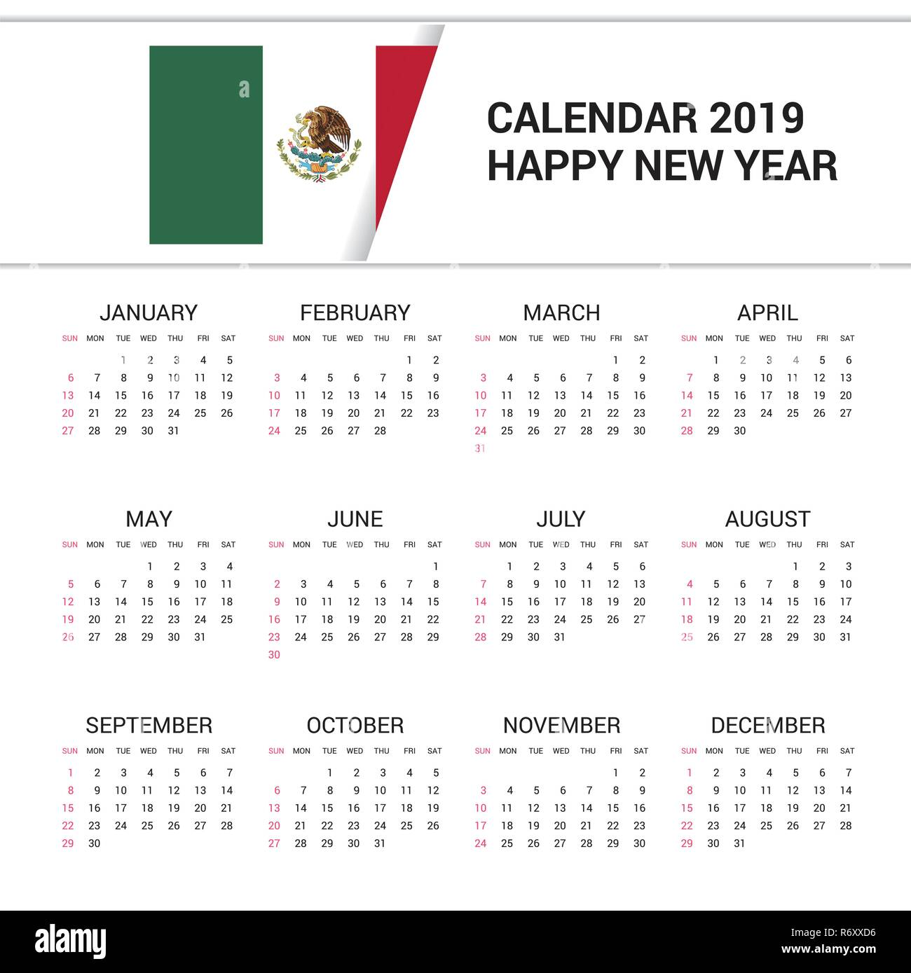 Mexican Calendar 2019 Calendar 2019 Mexico Flag background. English language Stock