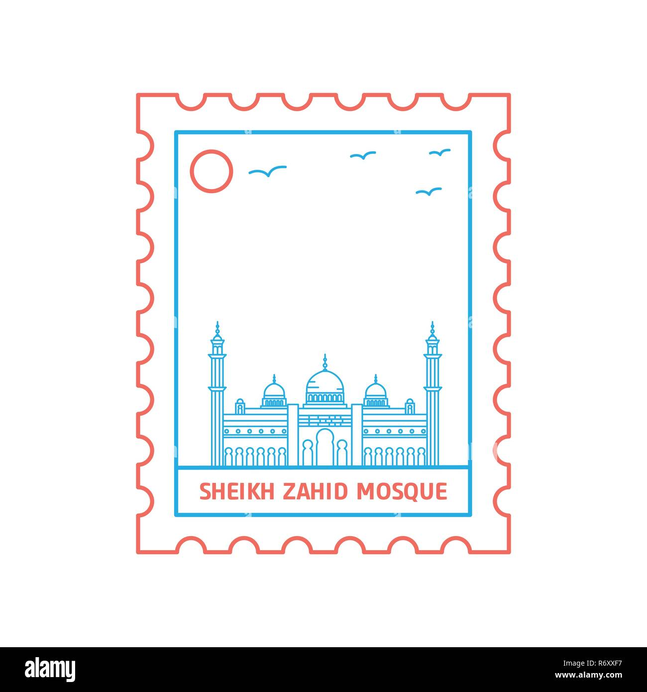 SHEIKH ZAHID MOSQUE postage stamp Blue and red Line Style, vector illustration - Stock Image
