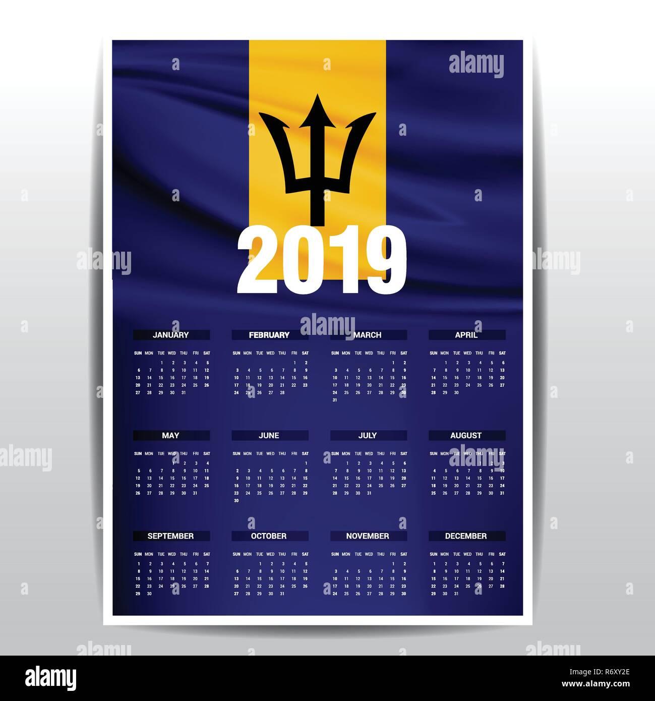 Calendar 2019 Barbados Flag background. English language - Stock Vector