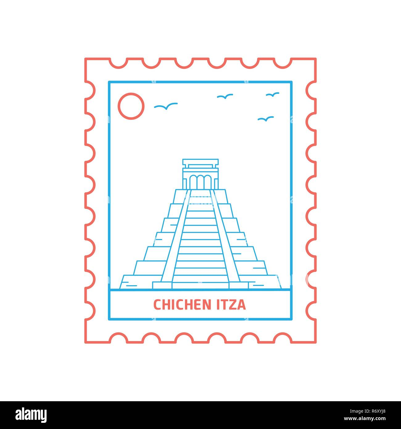 CHICHEN ITZA postage stamp Blue and red Line Style, vector illustration - Stock Image