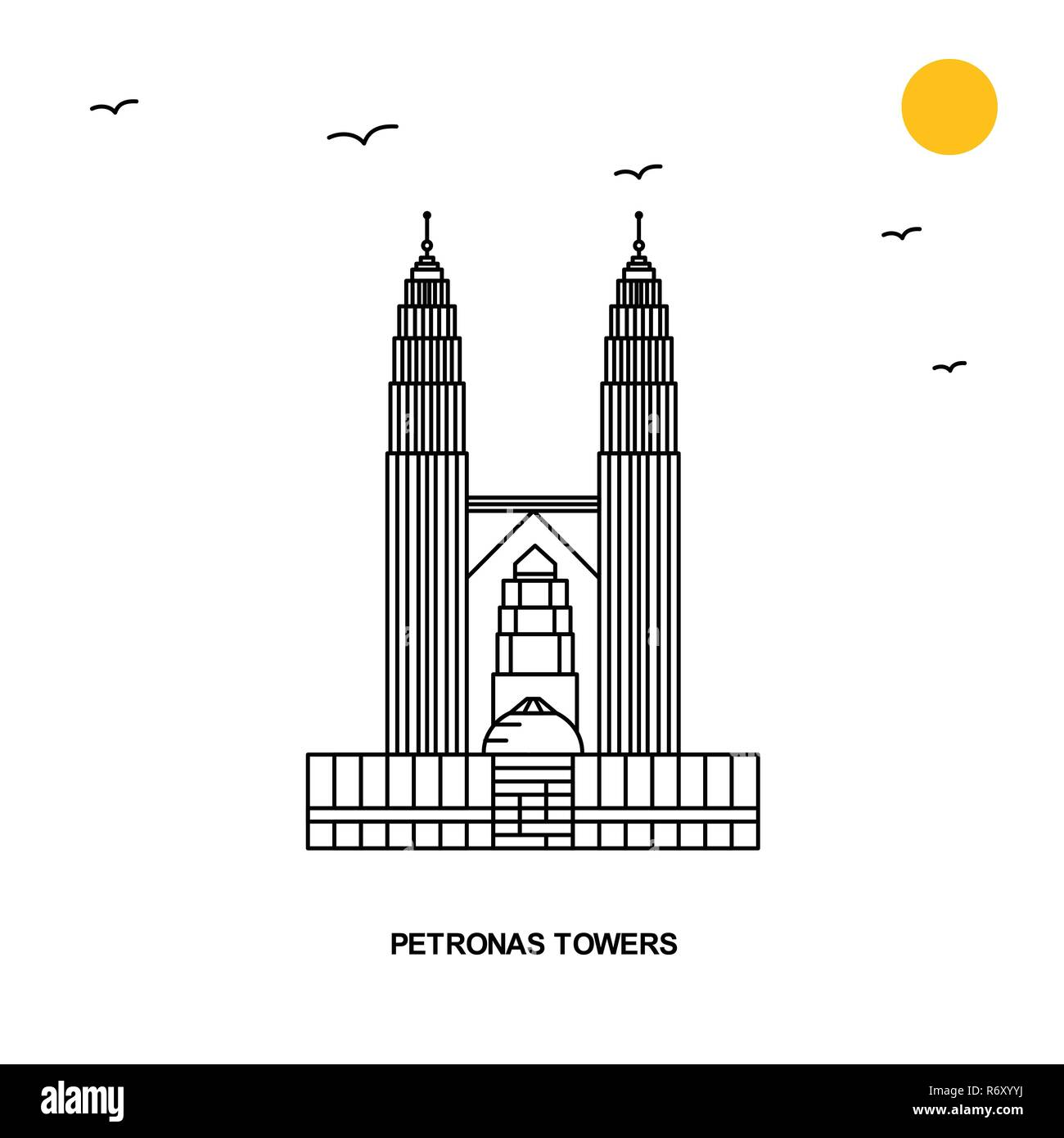 PETRONAS TOWERS Monument. World Travel Natural illustration Background in Line Style - Stock Vector