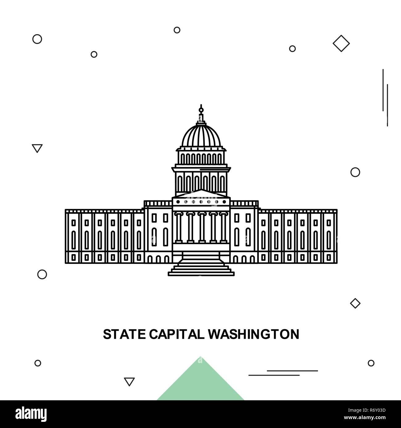 STATE CAPITAL WASHINGTON - Stock Vector