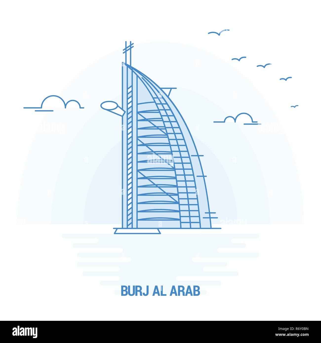 BURJ AL ARAB Blue Landmark. Creative background and Poster Template Stock Vector