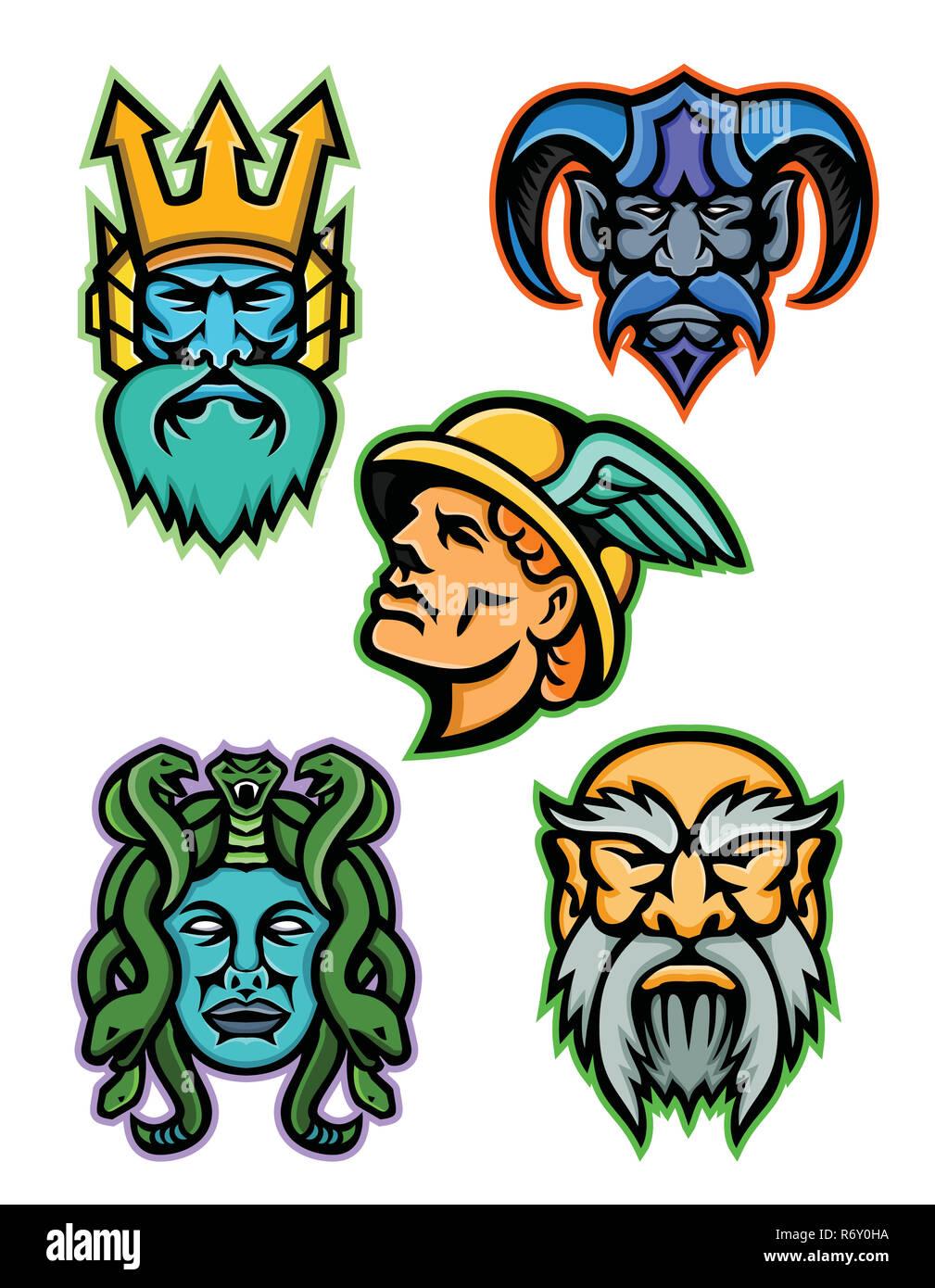 Greek Mythology Gods Mascot Collection - Stock Image