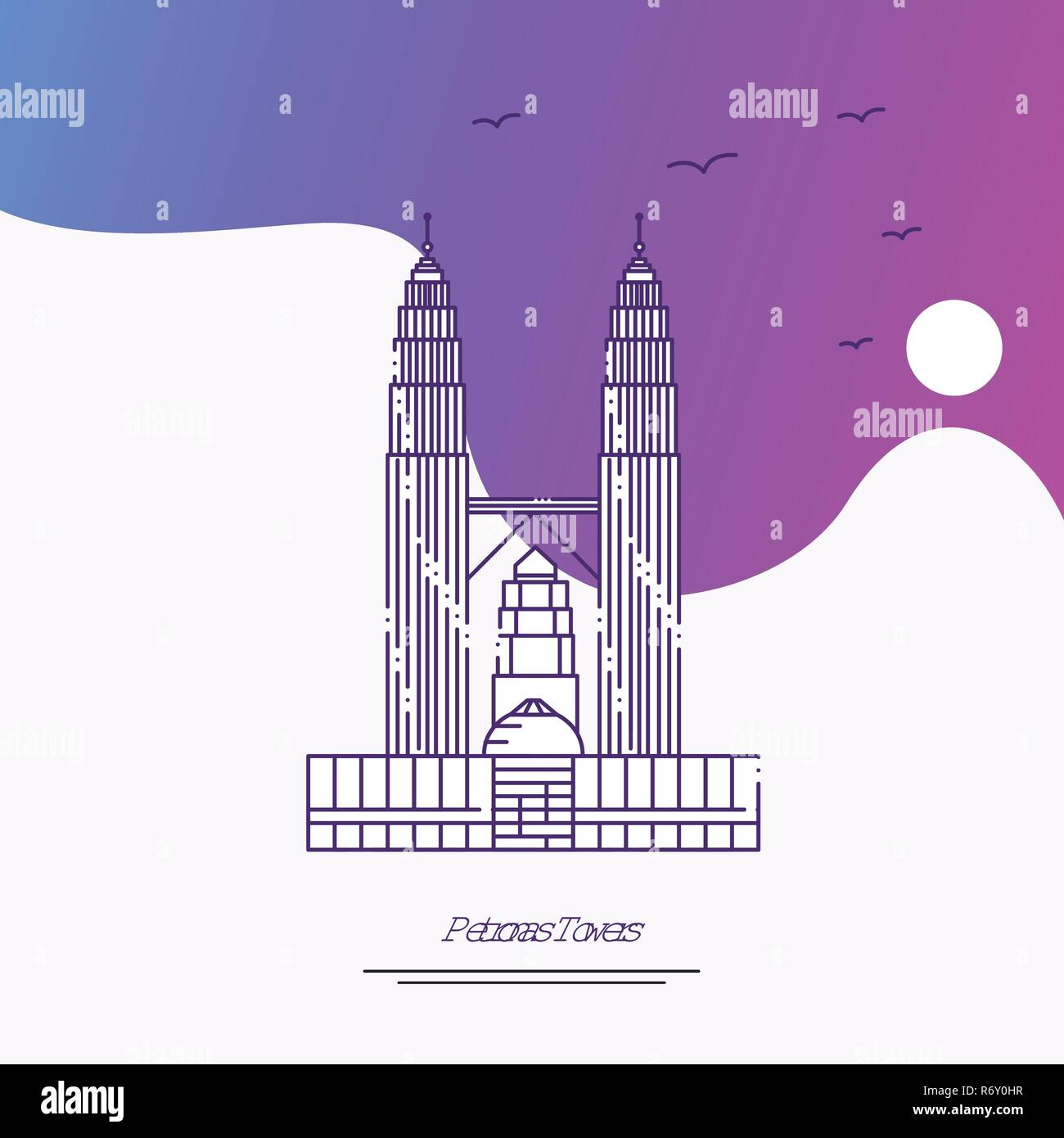 Travel PETRONAS TOWERS Poster Template. Purple creative background - Stock Vector