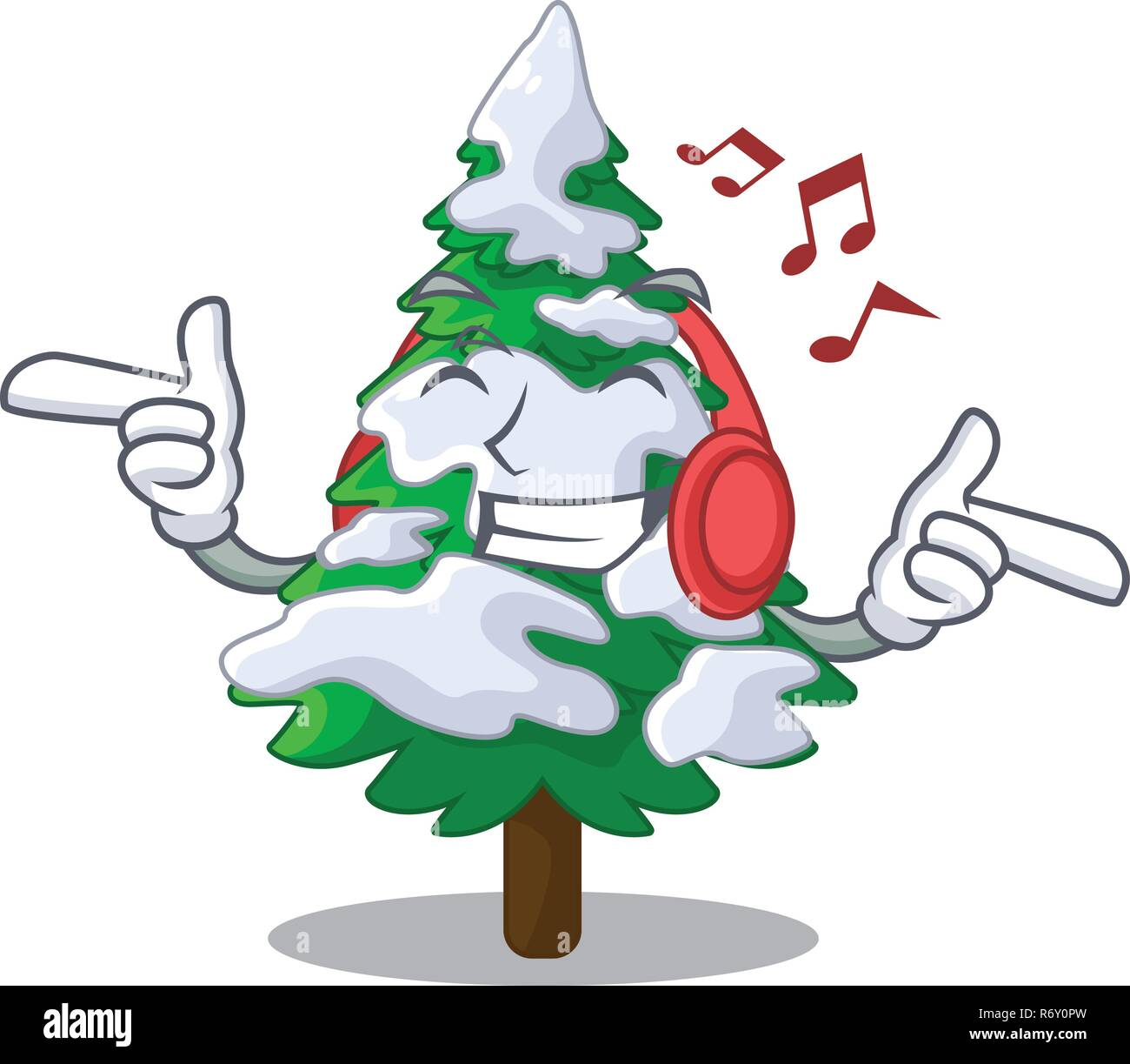 Listening Music Realistic Fir Tree In Snow Mascot Stock Vector Image Art Alamy Affordable and search from millions of royalty free images, photos and vectors. alamy