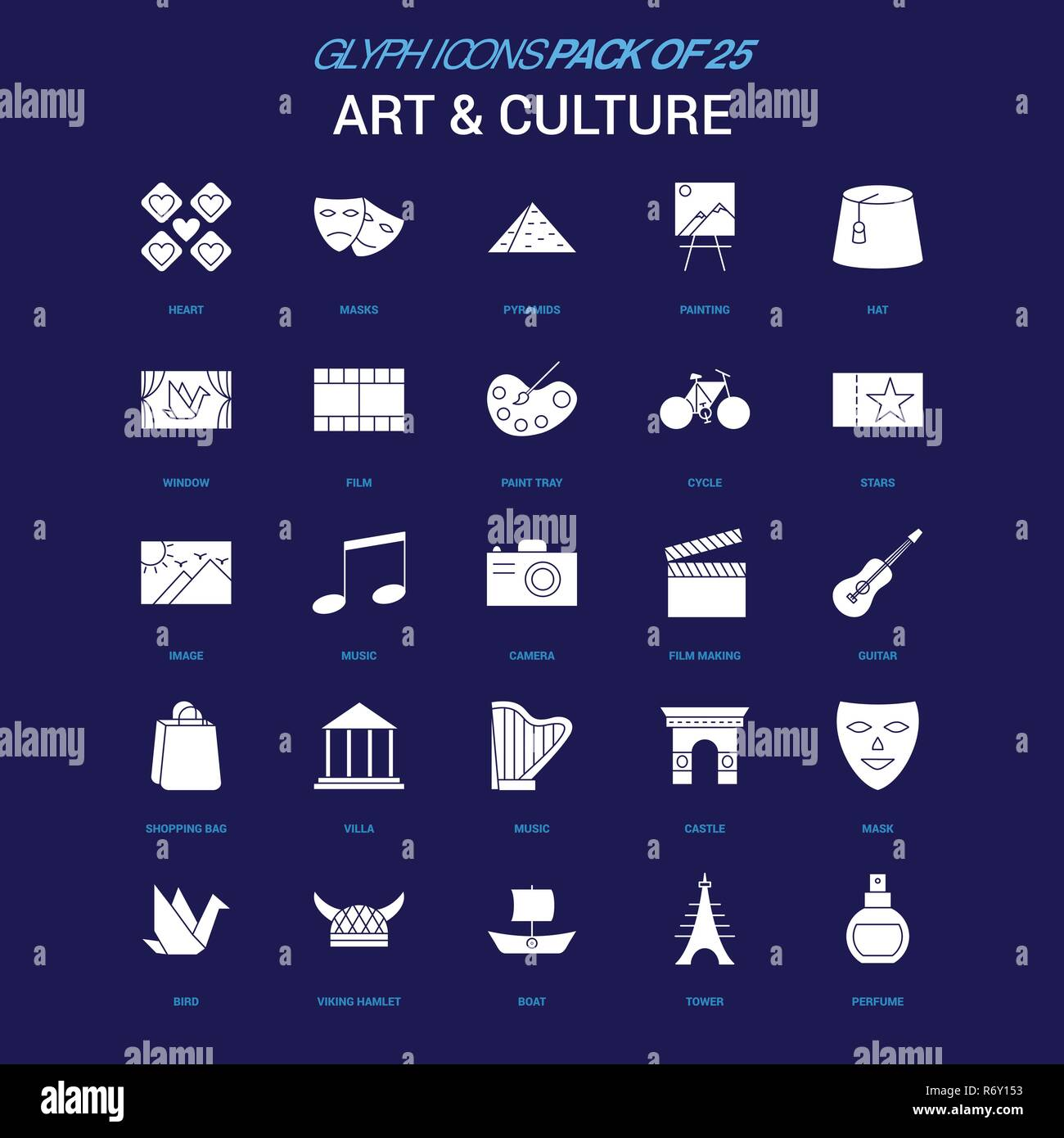 Art and Culture White icon over Blue background. 25 Icon Pack - Stock Vector