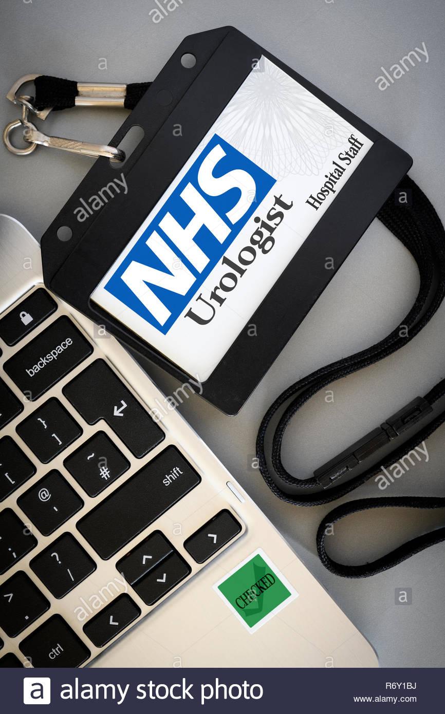 Urologist, title shown on (fake) hospital pass, England, UK - Stock Image