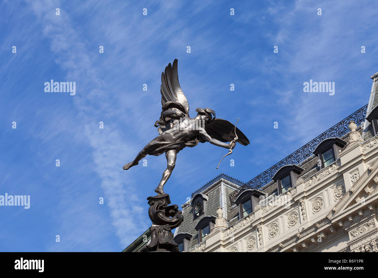 Shaftesbury Memorial Fountain, statue of a mythological figure Anteros, Piccadilly Circus, London, United Kingdom - Stock Image