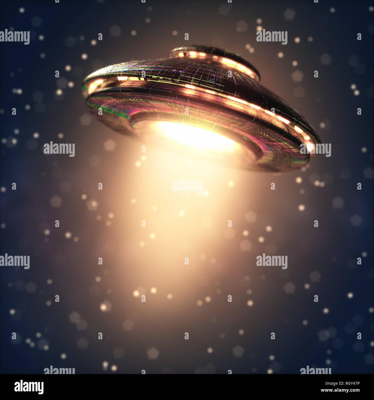 Extraterrestrial Spacecraft Jet Propulsion - Stock Image