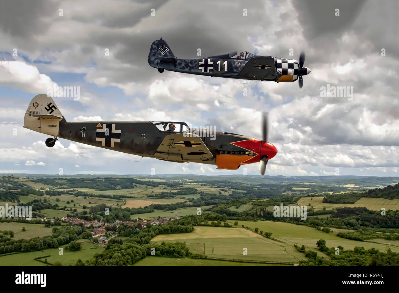 Focke-Wulf FW190 and Messerschmitt Bf 109G over France - Stock Image