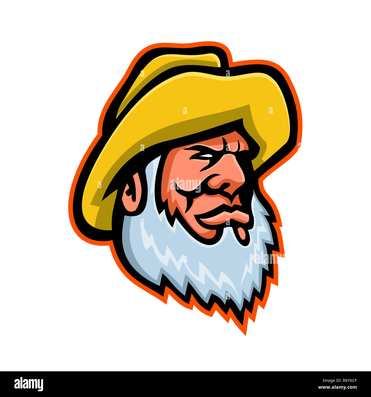 Old Fisherman or Fisher Mascot - Stock Image