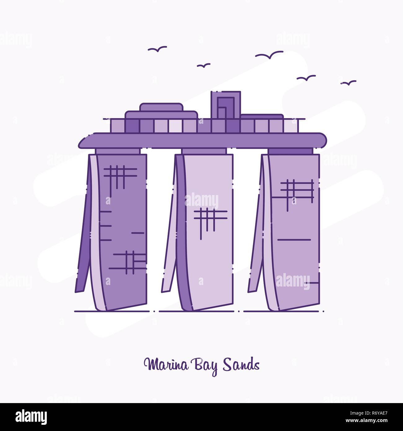 MARINA BAY SANDS Landmark Purple Dotted Line skyline vector illustration - Stock Image