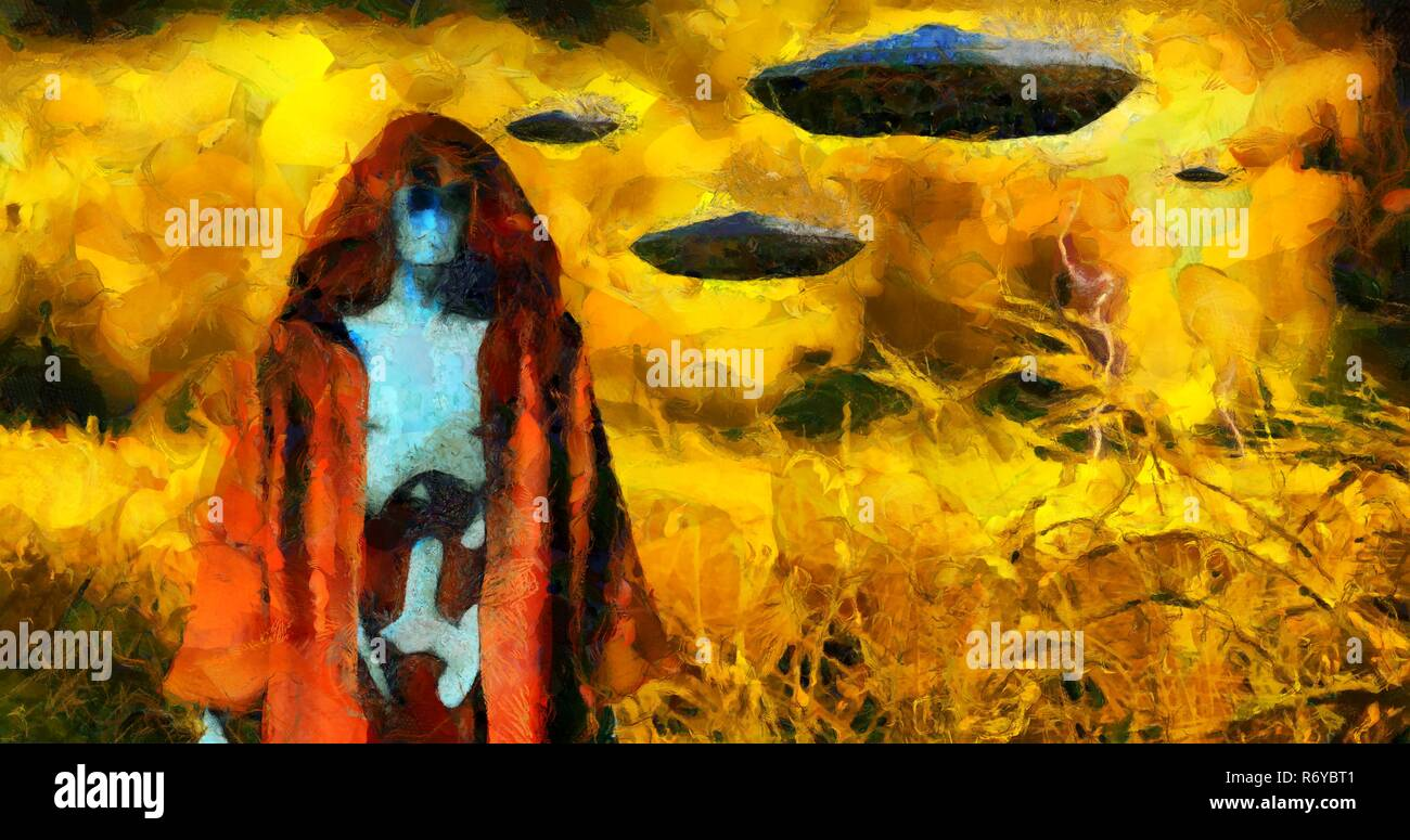 Surreal painting. Android in cloak stands in field of wheat. Flying saucers in the sky. Brush strokes. - Stock Image