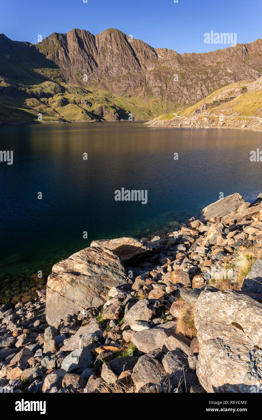 Llyn Llydaw and Snowdon mountain, Snowdonia, North Wales Stock Photo