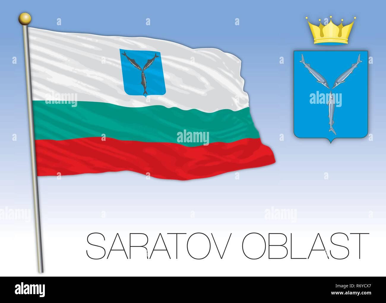 Saratov oblast flag, Russian Federation, vector illustration - Stock Image