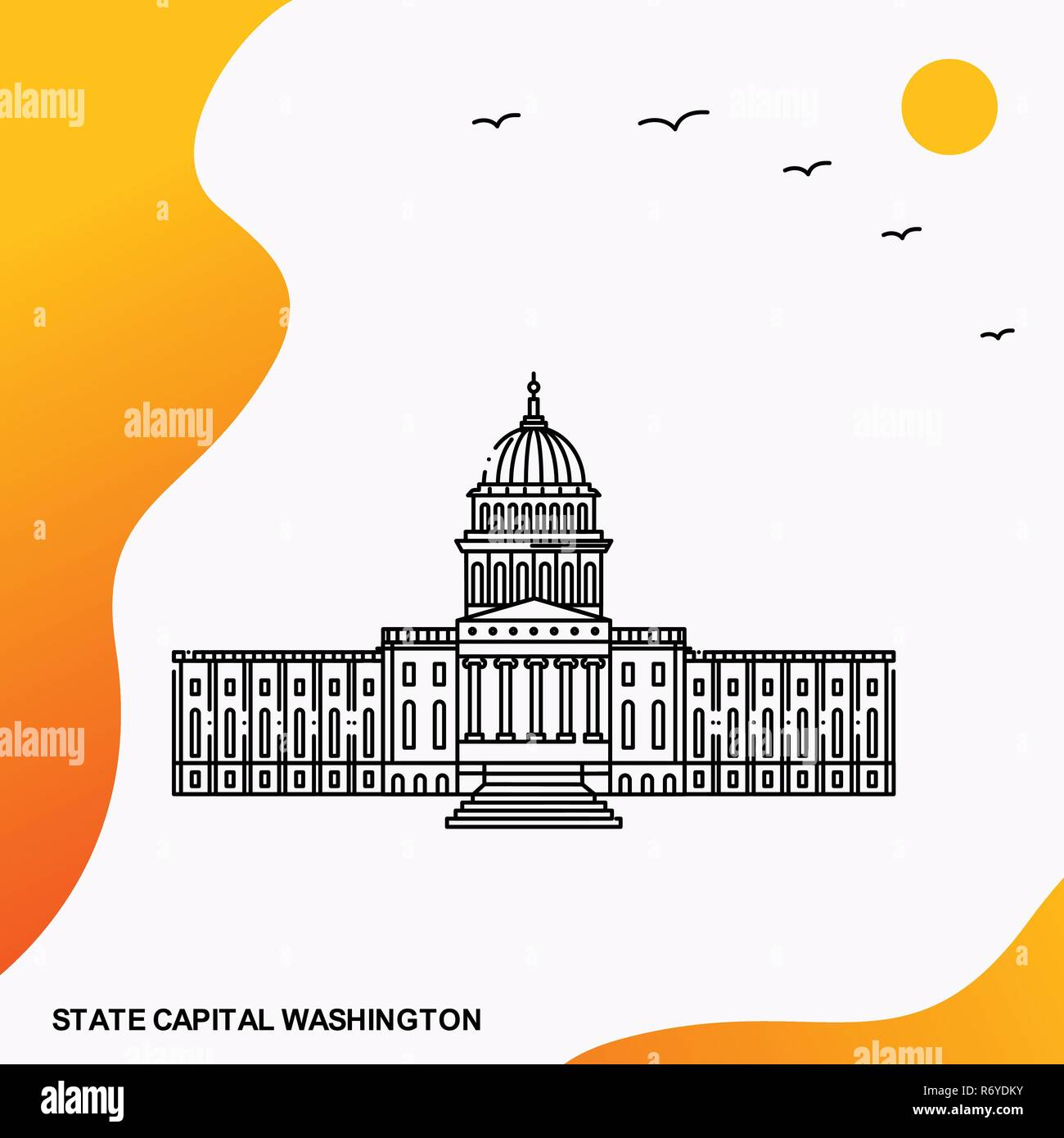 Travel STATE CAPITAL WASHINGTON Poster Template - Stock Vector
