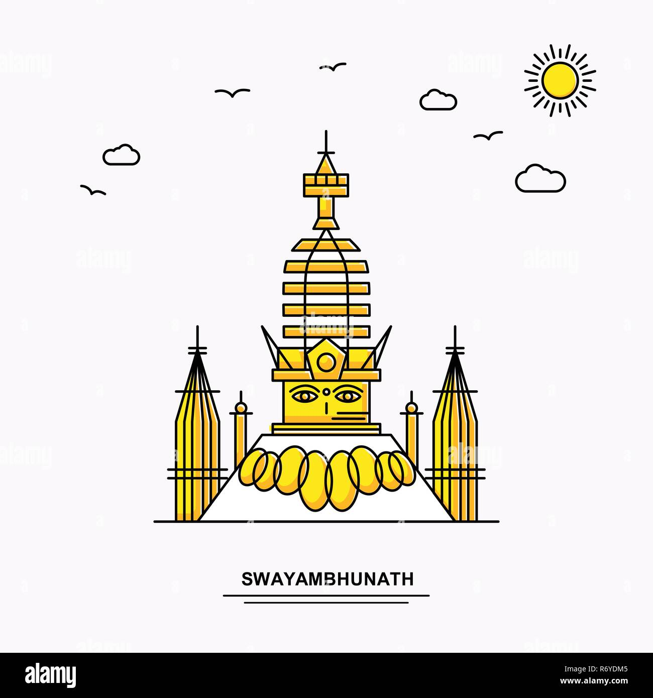 SWAYAMBHUNATH Monument Poster Template. World Travel Yellow illustration Background in Line Style with beauture nature Scene - Stock Image