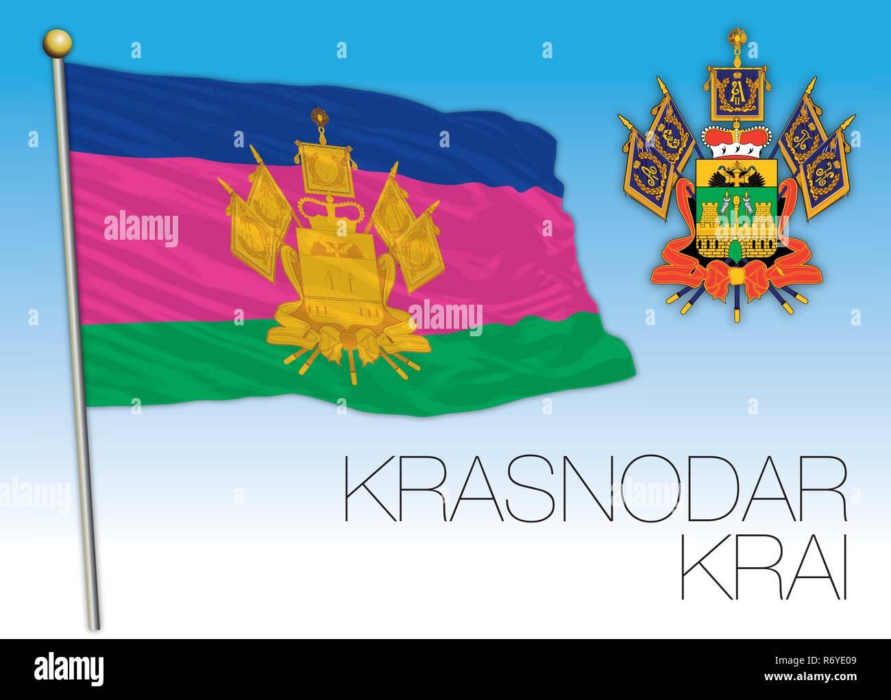 Krasnodar Krai flag, Russian Federation, vector illustration - Stock Image