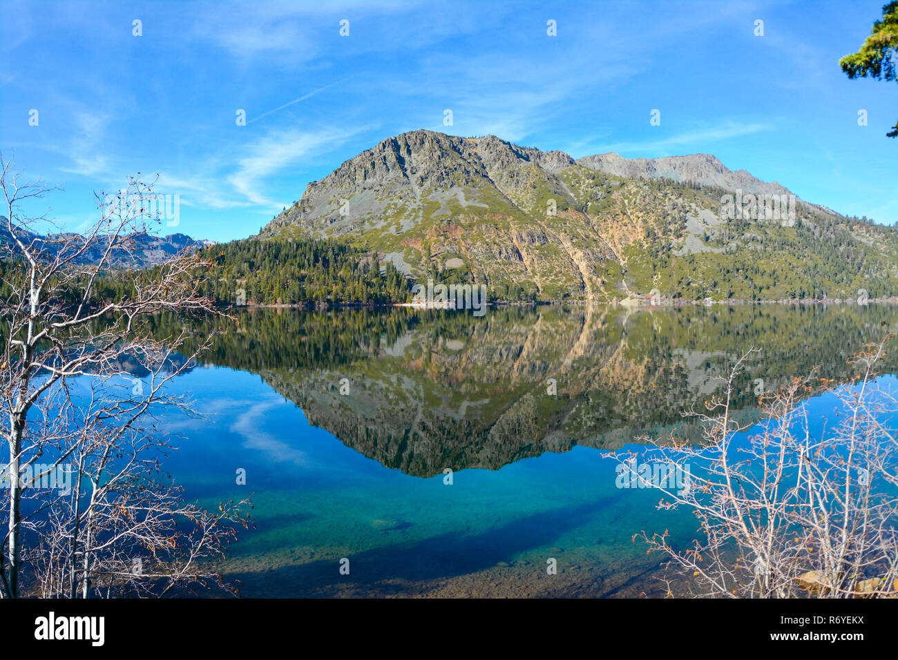 Mountain reflection on the water - Stock Image
