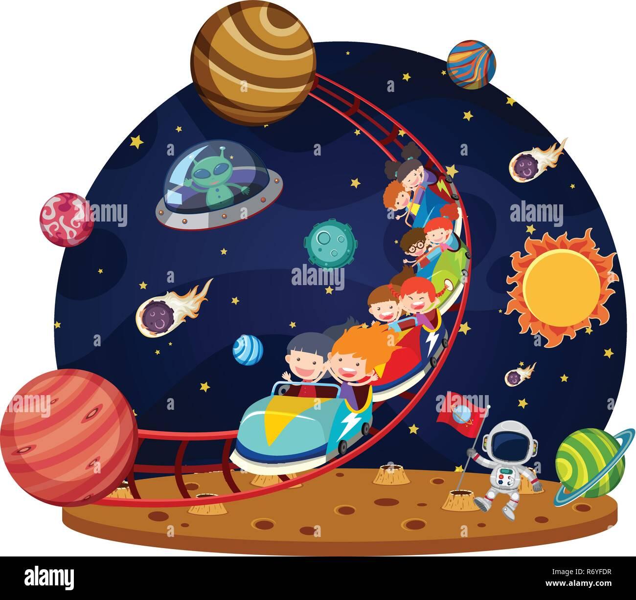 Children riding space roller coaster illustration - Stock Vector