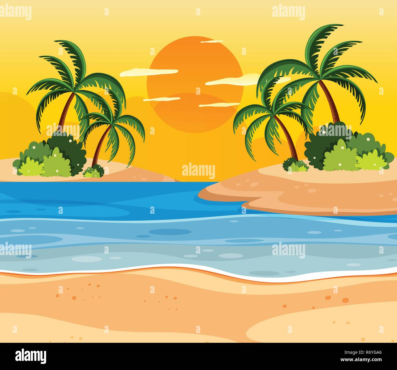 Sunset over tropical islands illustration - Stock Vector