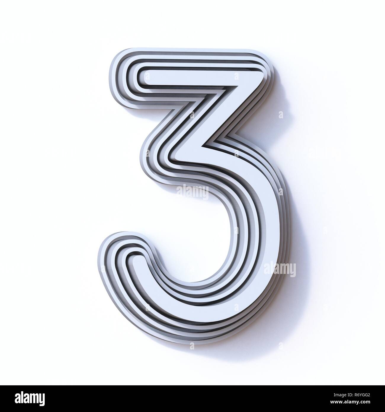 Three steps font number 3 THREE 3D - Stock Image