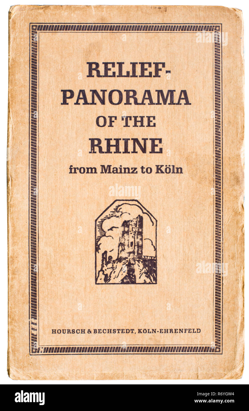 Cover of a pre-war panorama map of the Rhine from Cologne to Mainz.  . - Stock Image
