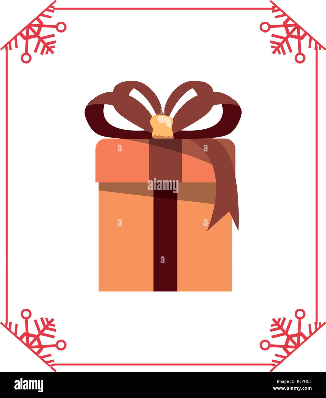 christmas gift box frame decoration vector illustration - Stock Image