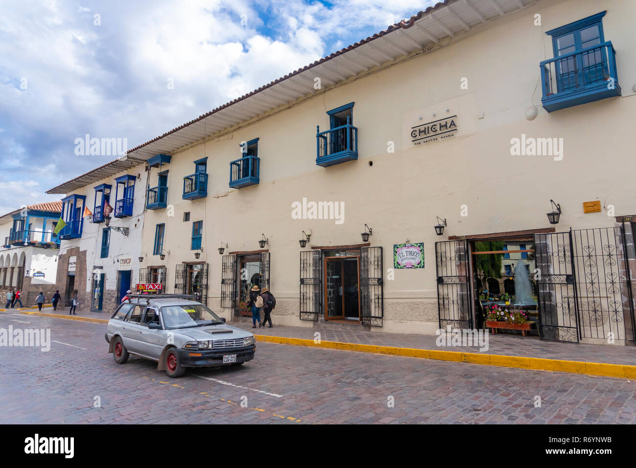 Taxi on a road in Cusco, Peru - Stock Image