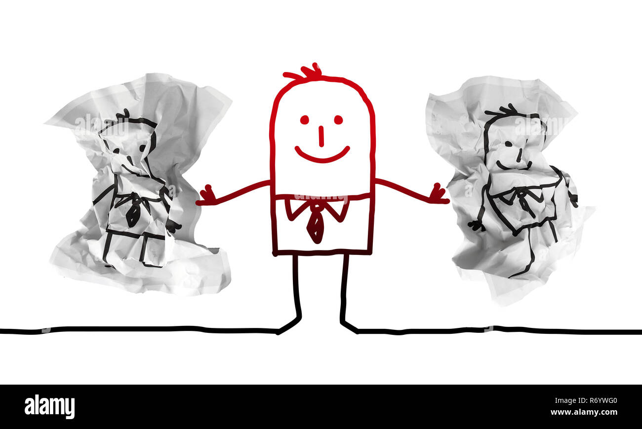 Cartoon Strong Man Putting Away Paper Dumblings with other Guys - Stock Image