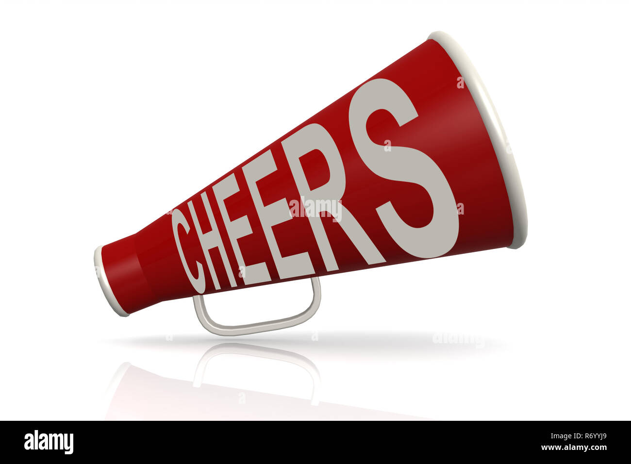 Red megaphone with cheer word - Stock Image