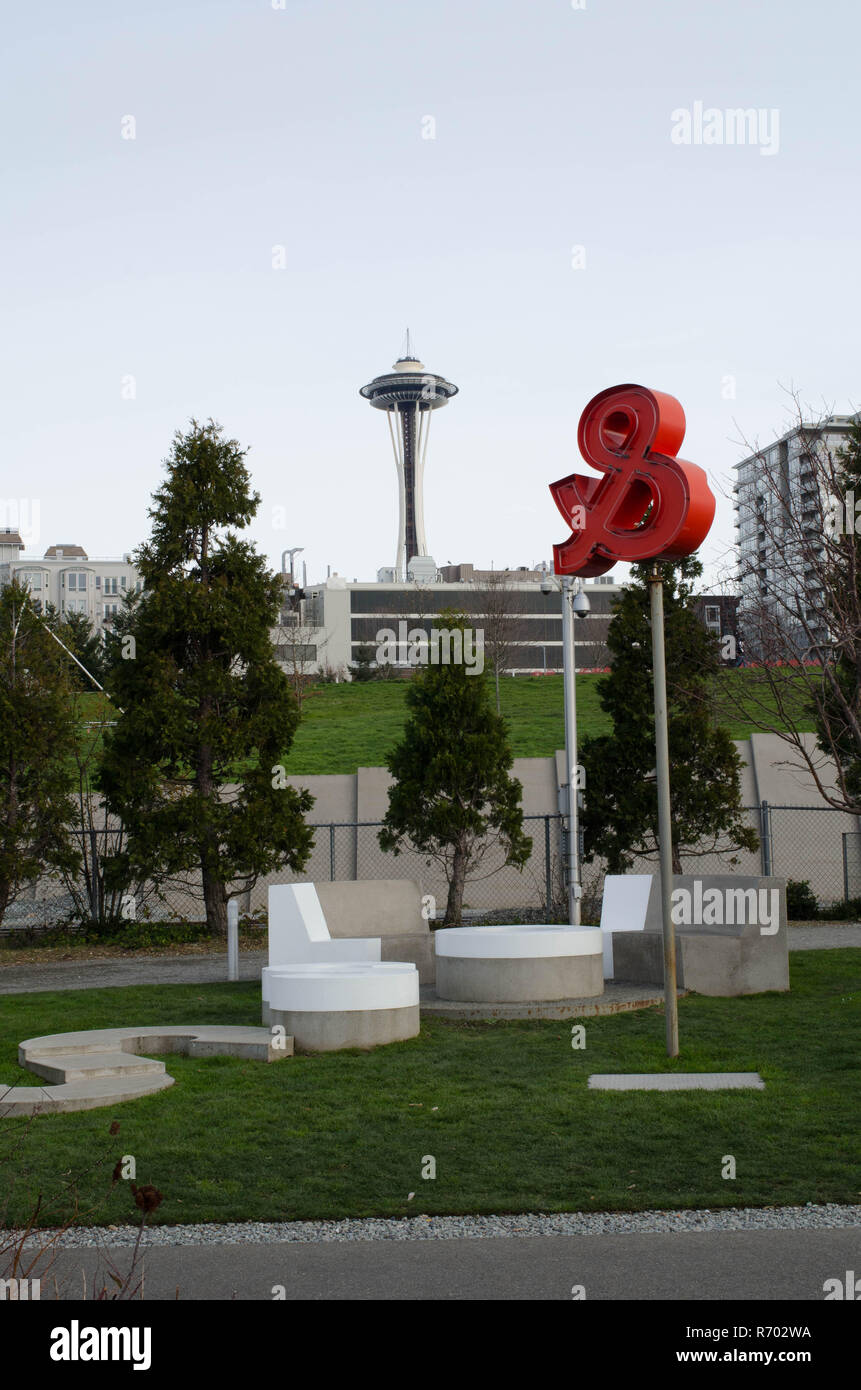 Daytime photo of the Space Needle and modern public art from Victor Steinbrueck Park, WA - Stock Image