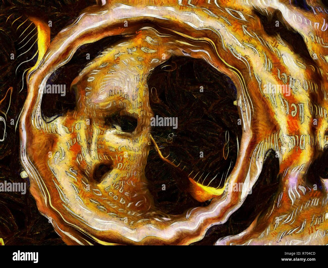 Surrealism. Warped human face inside tunnel. Words and spiral of time. - Stock Image