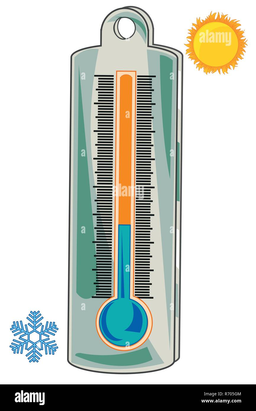 Thermometer for measurement of the temperature of the air - Stock Vector
