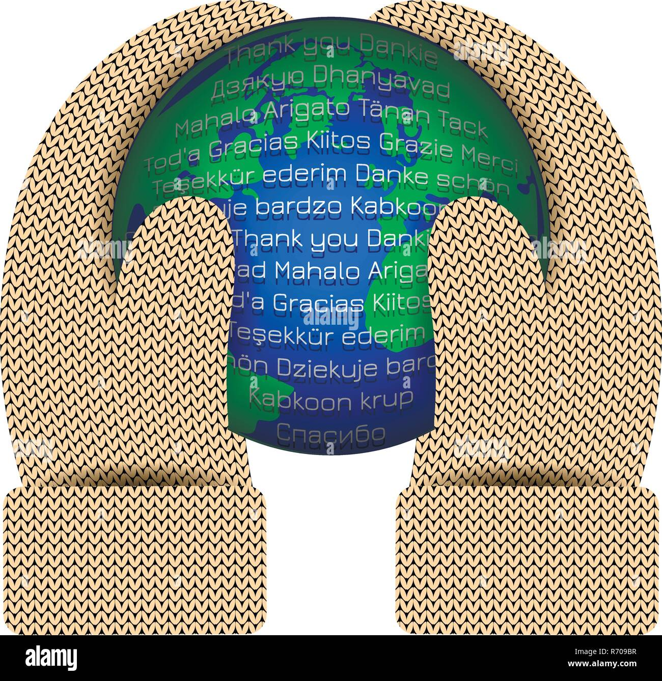 International Thank You Day. Hands in knitted mittens hold a planet Earth. The word Thank you in different languages - Stock Vector