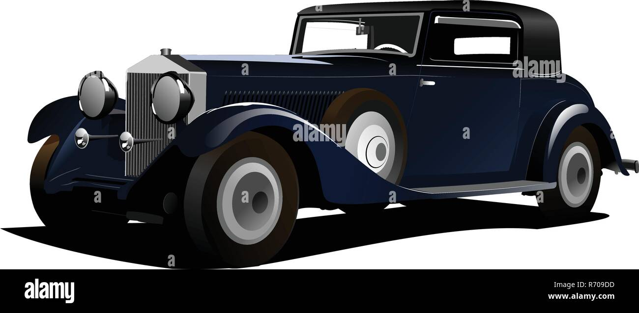 Old  blue car. Sedan more than 50 years old. Vector illustration - Stock Vector