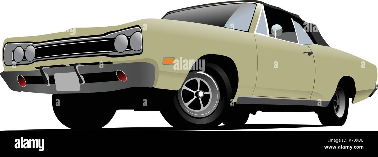Fifty years old  cabriolet with closed roof. Vector illustration - Stock Vector