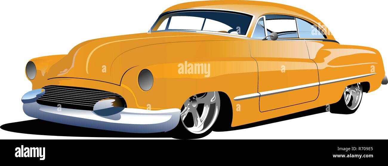 Fifty years old  yellow sedan. Vector illustration - Stock Vector