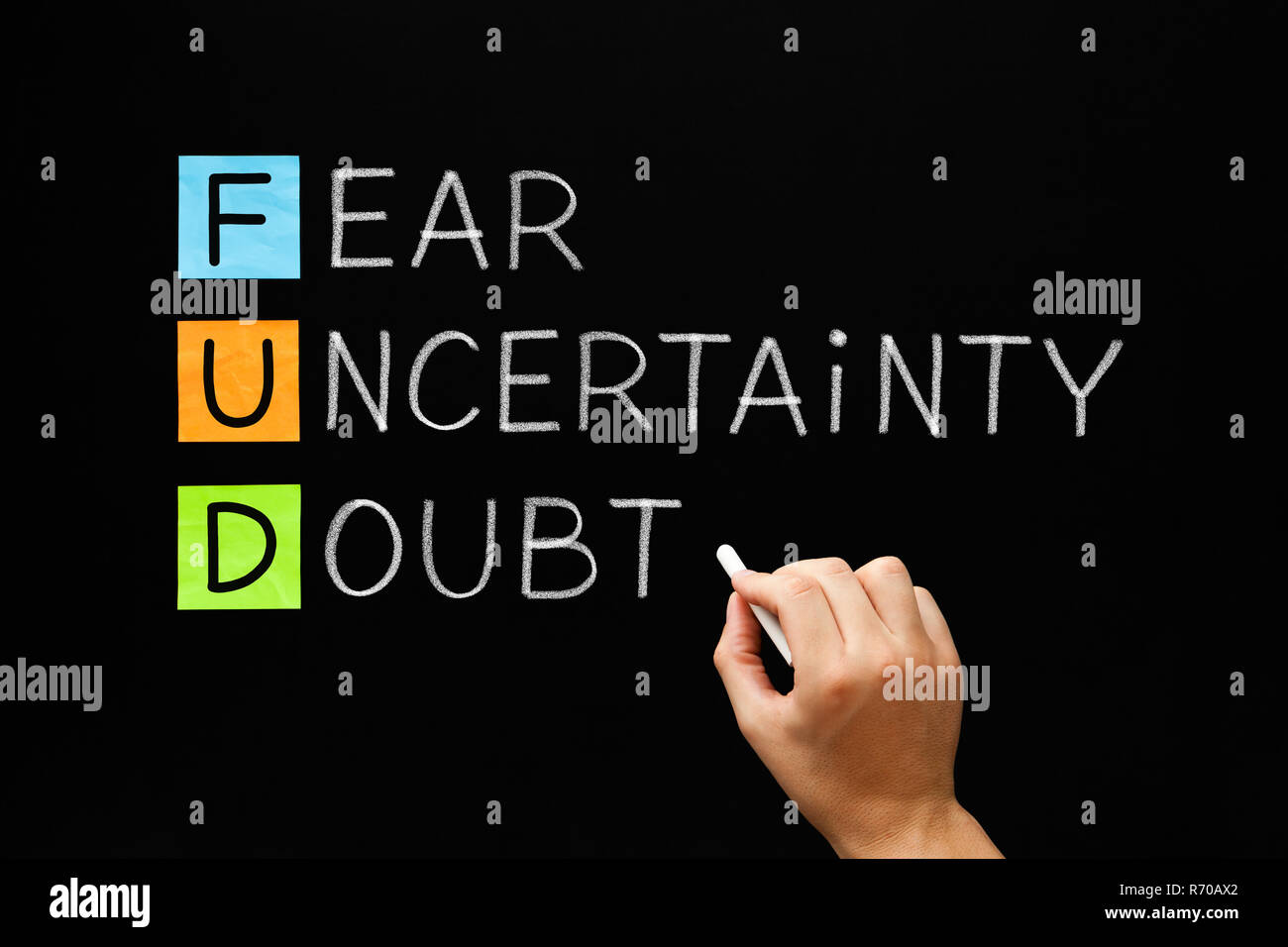 FUD - Fear Uncertainty And Doubt Stock Photo