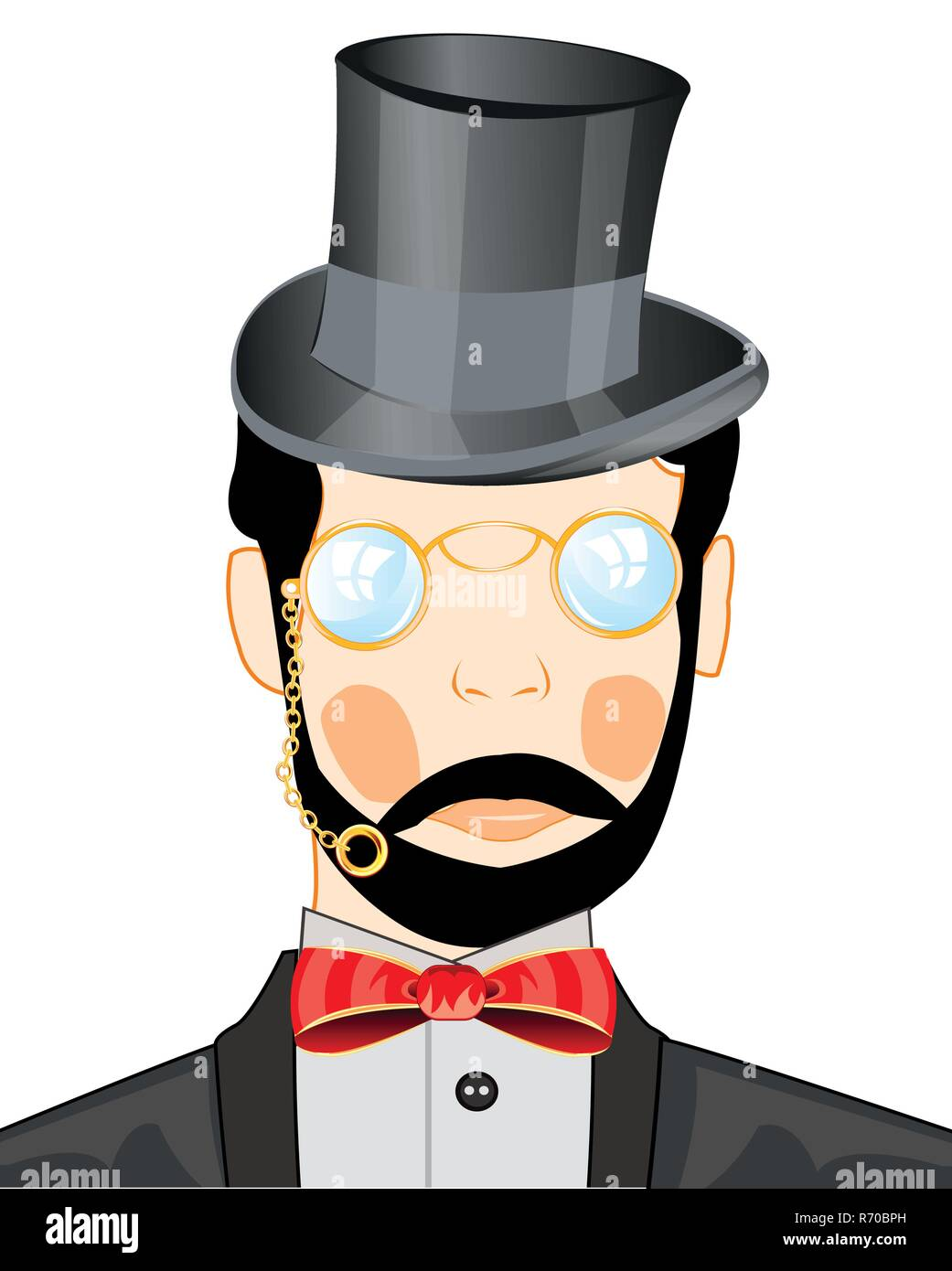 Vector illustration men in pince-nez and headdress - Stock Image