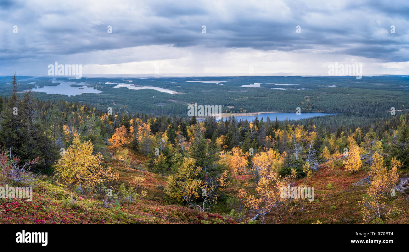 Scenic landscape with fall colors forest and mood clouds on the top of the hill at autumn evening in Lapland, Finland Stock Photo
