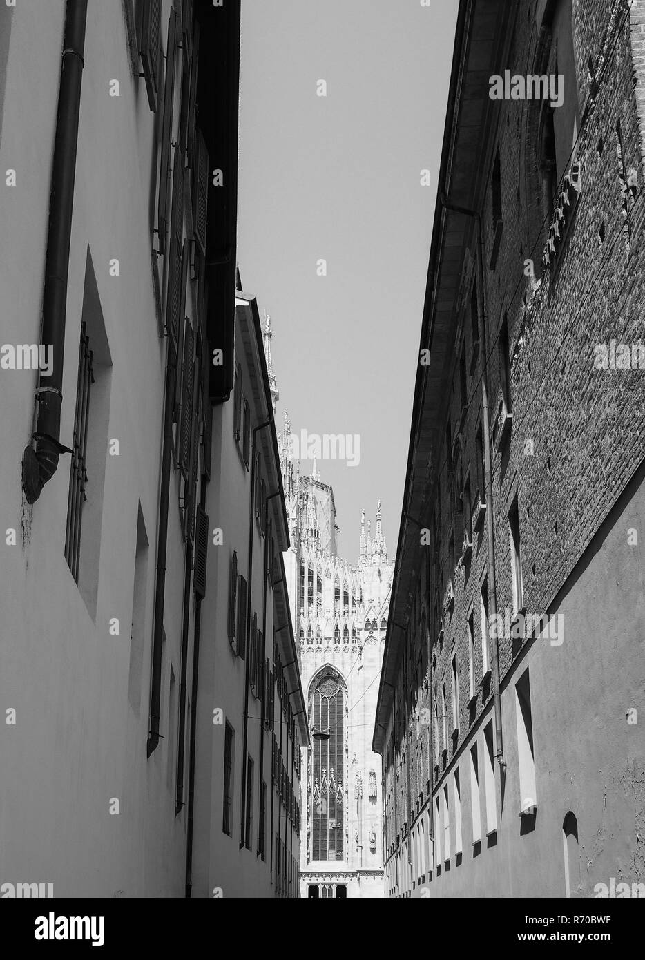 Duomo meaning cathedral in milan black and white
