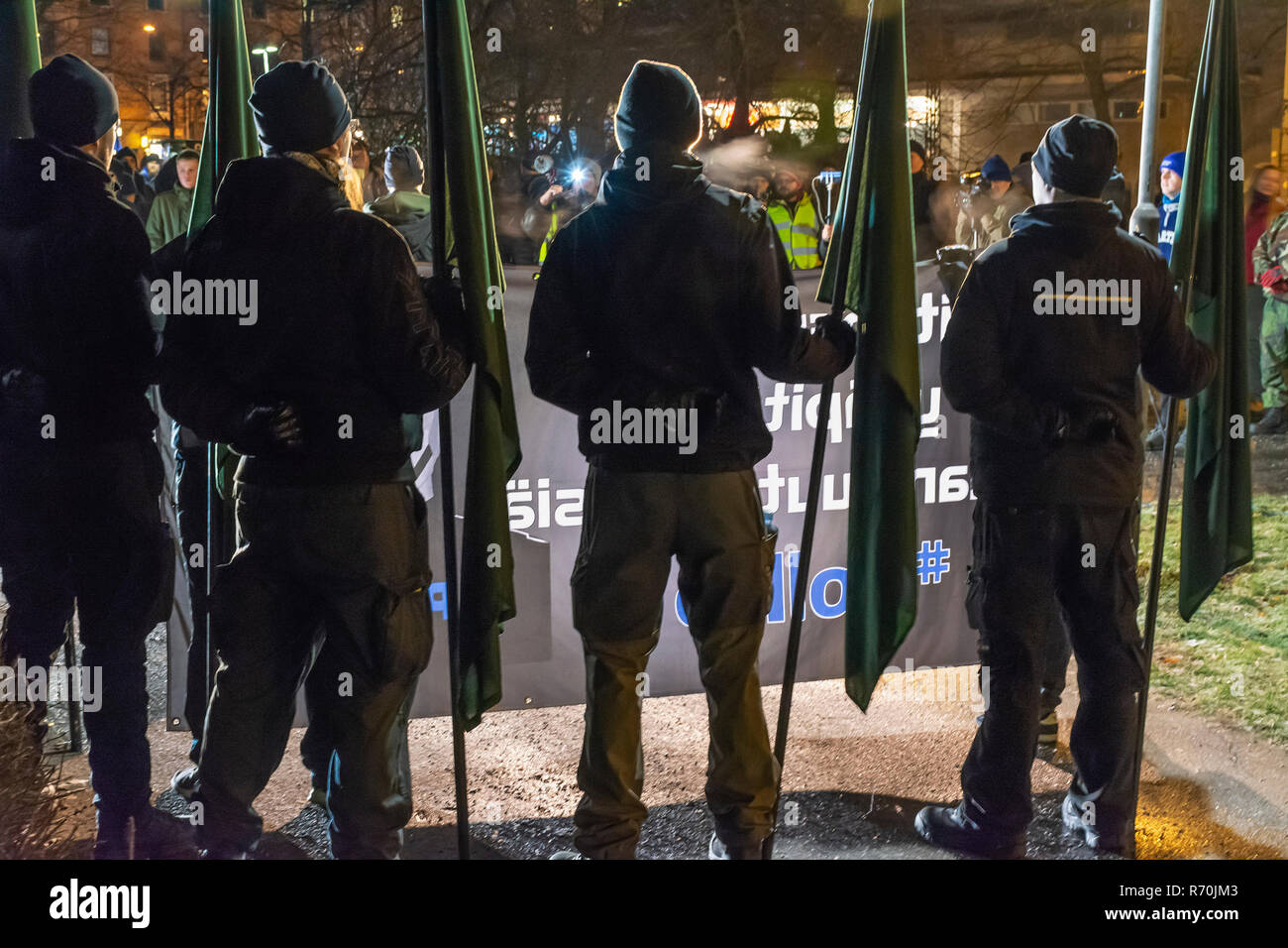 Helsinki, Finland. 6th Dec 2018. Neo Nazi Organistation Nordic Resistance Movement Demonstration in Helsinki on the Independence Day of Finland Credit: Pekka Liukkonen/Alamy Live News Stock Photo