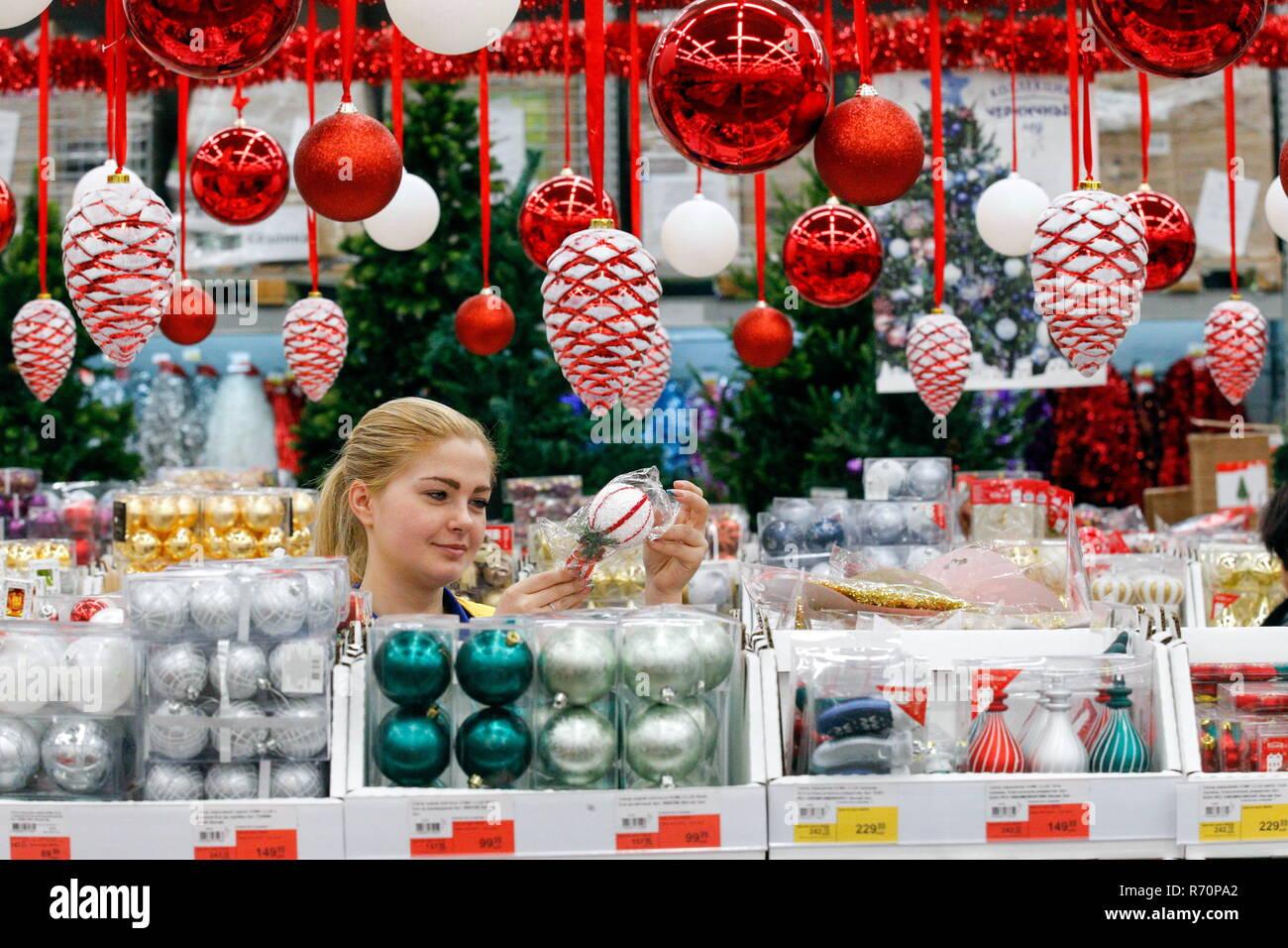 Selling Christmas decoration at a Lenta supermarket. Valery Matytsin/TASS Credit: ITAR-TASS News Agency/Alamy Live News - Stock Image