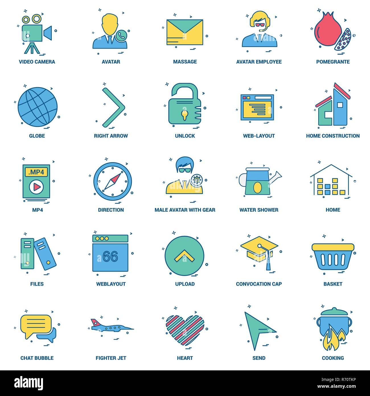 25 Business Concept Mix Flat Color Icon set - Stock Image