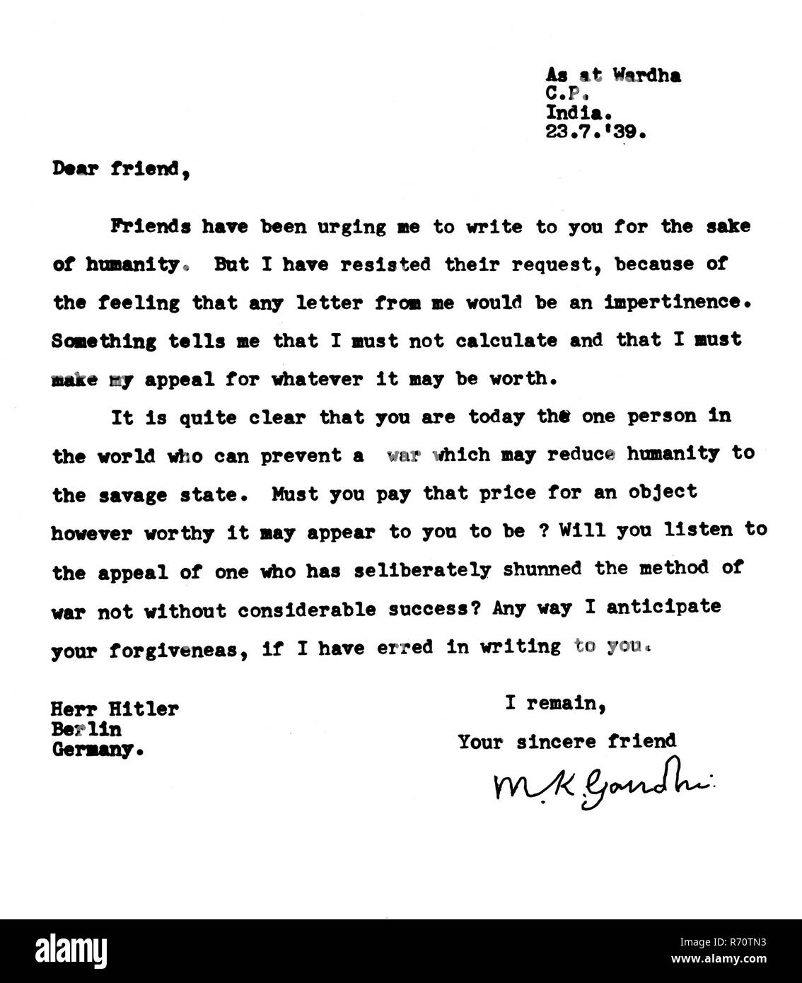 Mahatma Gandhi's first letter to Adolf Hitler, July 23, 1939 - MODEL RELEASE NOT AVAILABLE - Stock Image